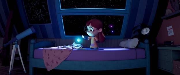 Eine Show der Stiftung Planetarium Berlin, zusehen ist die, auf ihrem Bett sitzende, Protagonistin des Films.