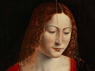 Lombardischer Nachfolger von Leonardo da Vinci, Maria mit dem Kind, Detail, um 1500