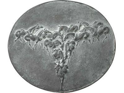 Heide Dobberkau: Herdentrieb, 1974 (Objektnummer 18211665), Gussmedaille, Bronze, einseitig, 93-108 mm