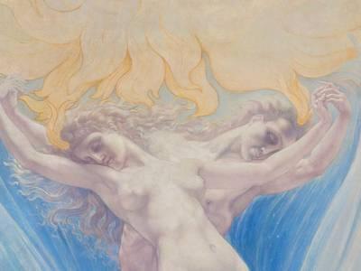 Jean Delville, Die Liebe der Seelen, Detail, um 1900