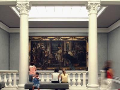 """Foyer des 3. Ausstellungsgeschosses mit dem """"Gastmahl des Plato"""" von Anselm Feuerbach"""