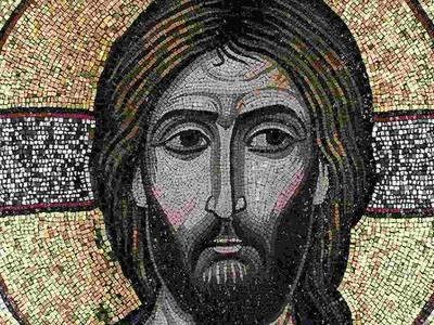Christus der Erbarmer, Detail, Ikone / Glasmosaik in Wachsgrund, auf Holz (um 1100)