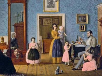 Wohnzimmer der Familie Hauschild, Gemälde von Eduard Gaertner, 1843