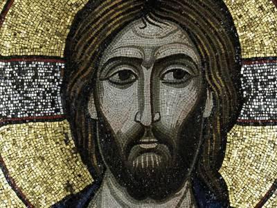 Christus der Erbarmer (Detail), Ikone / Glasmosaik in Wachsgrund, auf Holz (um 1100)