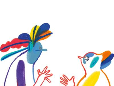 Grafik von graphicrecording.cool – zwei bunte, mit bunten Flecken bemalte Figuren rennen aufeinander zu, in der Mitte über ihnen schwebt ein Basketball