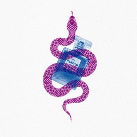 Es ist ein illustratives Motiv abgebildet. Eine violette Schlange schlängelt sich über eine blau eingefärbte Parfüm Flasche.