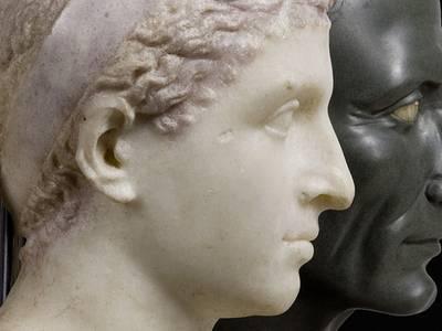 Büsten der Kleopatra VII. (3. Viertel 1. Jh.v.Chr.) und des C. Iulius Caesar (1. Hälfte 1. Jh.n.Chr.)