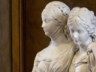 Johann Gottfried Schadow, Doppelstandbild der Prinzessinnen Luise und Friederike von Preußen. 1795-1797. Staatliche Museen zu Berlin, Nationalgalerie