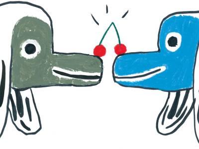 von graphicrecording.cool – Zwei Hundeköpfe mit einer Kirsche auf den Nasen