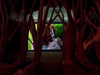 Pauline Curnier Jardin, Peaux de Dame in the Hot Flashes Forest + Qu'un Sang Impur, Detail, 2019, Ausstellungsansicht Hamburger Bahnhof, 2019, Courtesy the artist and Ellende Brujine Projects – Pauline Curnier Jardin, Peaux de Dame in the Hot Flashes Forest + Qu'un Sang Impur, Detail, 2019, Ausstellungsansicht Hamburger Bahnhof, 2019, Courtesy the artist and Ellende Brujine Projects © Staatliche Museen zu Berlin, Nationalgalerie / Mathias Völzke