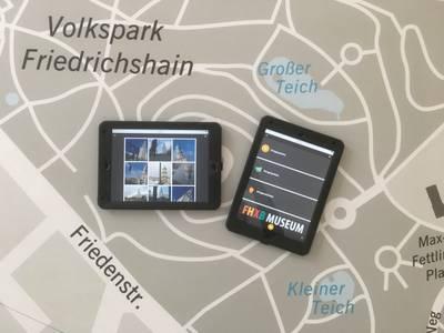 Die Ausstellung ortsgespräche auf dem Tablet
