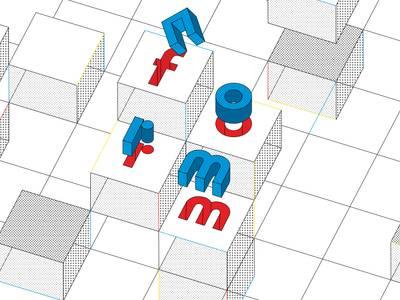 Norm und Form – Design für alle? – Grafik mit Würfeln und roten und blauen Buchstaben im Raum