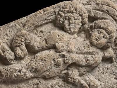 Relief mit Seekentaur und Nereide, 4.–5. Jh., Kalkstein