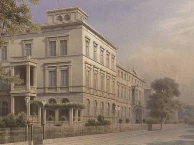 """Blatt XII. aus der Publikation """"Wohngebäude der Victoria Strasse in Berlin"""" von Friedrich Hitzig, erschienen in 3. Aufl. in Berlin bei Ernst & Korn, 1864."""