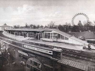 """Marianne Strobl: Perrondach-Construction in der Haltestelle """"Praterstern"""", der Wiener Stadtbahn, 1898, Silbergelatine"""