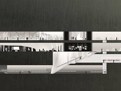 Querschnittsansicht des Libeskind-Baus mit Entwurf der neuen Dauerausstellung, Stand Wettbewerb