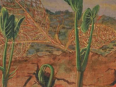 Max Kühn, Pflanzen brechen aus der Erde, 1928, Öl und Tempera auf Holz (Detail)
