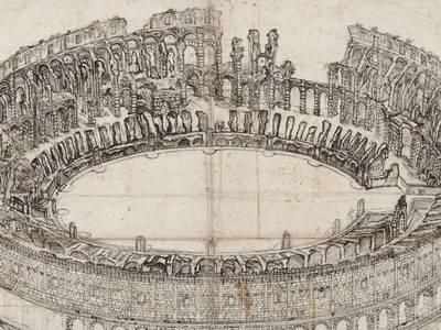 Giovanni Battista Piranesi, Colosseum in Rom aus der Vogelschau von Norden, Detail, um 1760-1770