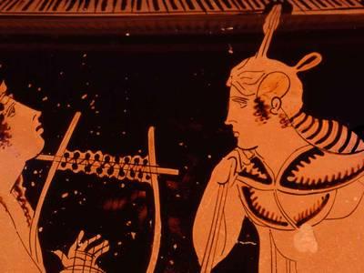 Orpheus, der mythische Sänger aus Thrakien, galt nach dem Gott Apollon in der Antike als der Musiker par excellence. Attischer Krater, Detail, um 440 v. Chr.
