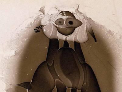 André Thomkins, Der Dybbuk, Detail, 1960, Lackskin auf Papier