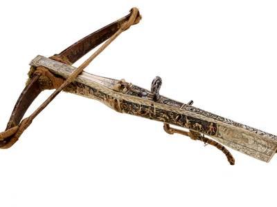 Die Armbrust - Schrecken und Schönheit – Jagdarmbrust mit farbig gefassten Beinintarsien 1567